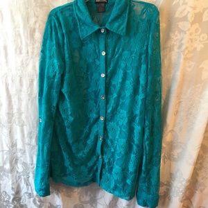 Wet seal teal lace blouse-Ladies M